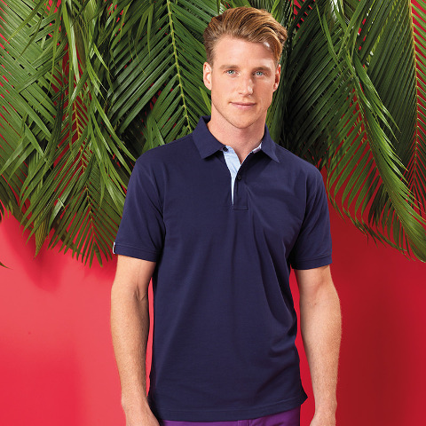 Asquith & Fox Cotton Polo With Oxford Fabric Insert